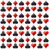 Seamless casino gambling poker background with red and black. Symbols, vector illustration. Ideal for printing onto fabric and paper or scrap booking royalty free illustration