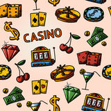 Seamless casino handdrawn pattern with - dice Stock Photo