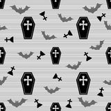 Seamless casket and cross pattern on stripe background Stock Images