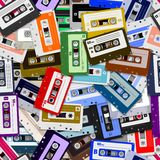 Seamless Cassette Tapes Stock Photos