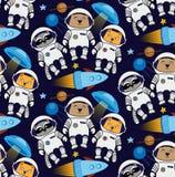 Seamless cat, bear, raccoon cosmos astronaut pattern. Seamless vector cat bear racoon cosmos ufo flying saucer rocket star satellite pattern Royalty Free Stock Image