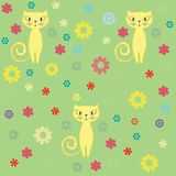 Seamless cat and flowers background. Stock Photography