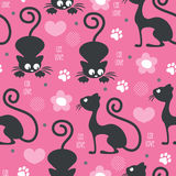 Seamless cat love pattern vector illustration Stock Photos