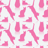 Seamless cat pattern. Vector illustration of pink cats Vector Illustration