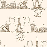 Seamless cat pattern. Can be used for wallpaper, website background, wrapping paper. Bright pattern of sitting cats. Love design. City concept Stock Photo