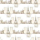 Seamless cat pattern. Can be used for wallpaper, website background, wrapping paper. Bright pattern of sitting cats. Love design. City concept Stock Image