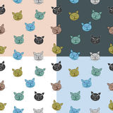 Seamless cat pattern with muzzle composed of tree  Royalty Free Stock Photo