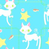 Seamless cat repeat pattern with foot print and fish. In blue background stock illustration