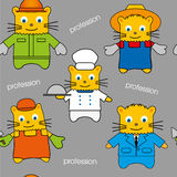 Seamless of cats of different professions, hand-drawn pattern Royalty Free Stock Photos
