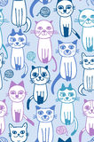 Seamless cats fabric pattern Royalty Free Stock Photography