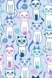 Seamless cats fabric pattern. Seamless cartoon cats fabric pattern Royalty Free Illustration