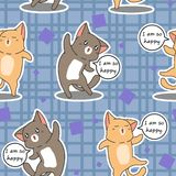 Seamless 2 cats are happy pattern. vector illustration