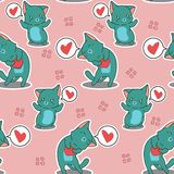 Seamless 2 cats are loving you pattern. royalty free illustration