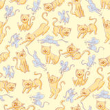 Seamless cats and mice pattern Royalty Free Stock Photo