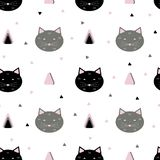 Seamless cats pattern vector illustration