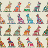 Seamless cats pattern. Seamless pattern with decorative cats Royalty Free Stock Photo