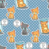 Seamless cats are sad pattern. royalty free illustration