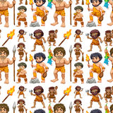 Seamless caveman. In different actions with weapons Royalty Free Stock Photo