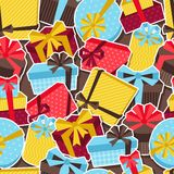 Seamless celebration pattern with sticker gift Royalty Free Stock Photography