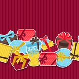 Seamless celebration pattern with sticker gift Royalty Free Stock Images