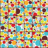 Seamless cell background with colorful dots. Royalty Free Stock Photography