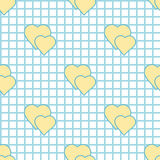Seamless cell pattern and hearts Royalty Free Stock Photography