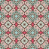 Seamless ceramic tile design pattern background. flower mandala design surface. Cute vintage Dutch Tile design for fabric and pottery. Abstract geometric mosaic stock illustration