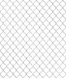 Seamless chain- link fence on white background. Shiny silver chain link fence, seamless, textured with brushed metal Stock Photo
