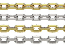 Seamless chain set. In gold and silver isolated on white background. Endless chain border, divider, frame. Industrial chains in yellow and grey metal. 3D Royalty Free Stock Image
