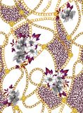 Seamless chains pattern with flowers, ready for print, fabric, textile design. Seamless chains pattern with flowers, ready for print, fabric, textile design on stock illustration
