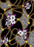 Seamless chains pattern with flowers, ready for print, fabric, textile design. Seamless chains pattern with flowers, ready for print, fabric, textile design on vector illustration