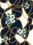 Seamless chains pattern with flowers, ready for print, fabric, textile design. Seamless chains pattern with flowers, ready for print, fabric, textile design on royalty free illustration