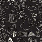 Seamless chalk board childlike pattern Stock Photography