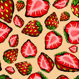 Seamless chaotic strawberry pattern Royalty Free Stock Photos