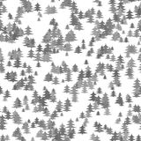 Seamless chaotic winter holiday background - grey pine tree pattern Christmas vector graphic Royalty Free Stock Image