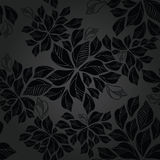 Seamless charcoal leaves wallpaper pattern Royalty Free Stock Image