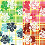seamless check flower tropical pattern Royalty Free Stock Image