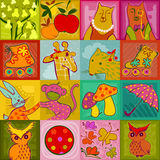 Seamless checked doodle colorful animals Stock Photo