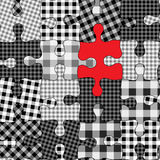 Seamless checked puzzle Stock Image
