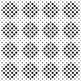 Seamless checkered abstract monochrome pattern from square zones filled with circles and ovals. Pattern for clothing Stock Images