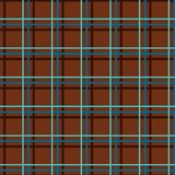 Seamless checkered background, fine lines, brown, vector. Thin blue lines intersect at brown field. Geometric, vector decor Stock Photography