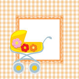 Seamless checkered background with ornamental frame and stylized pram Stock Image