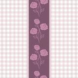 Seamless checkered background with purple stylized roses Royalty Free Stock Photography