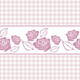 Seamless checkered background with stylized roses Stock Images