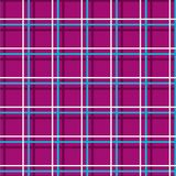 Seamless checkered background, thin lines, plum, vector. White and blue thin lines intersect at the purple box. Geometric vector pattern Stock Image