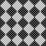 Seamless checkered chess monochrome pattern. White squares consisting of ovals on black background. Vector Illustration Royalty Free Stock Photo