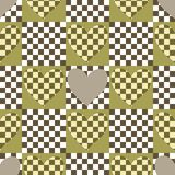 Seamless checkered chess pattern with hearts Stock Images