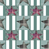 Seamless checkered kids patchwork stars pattern. Background Royalty Free Stock Photos