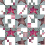 Seamless checkered kids patchwork stars pattern Stock Images
