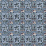 Seamless checkered kids patchwork stars pattern background. In blue grey colors Stock Images